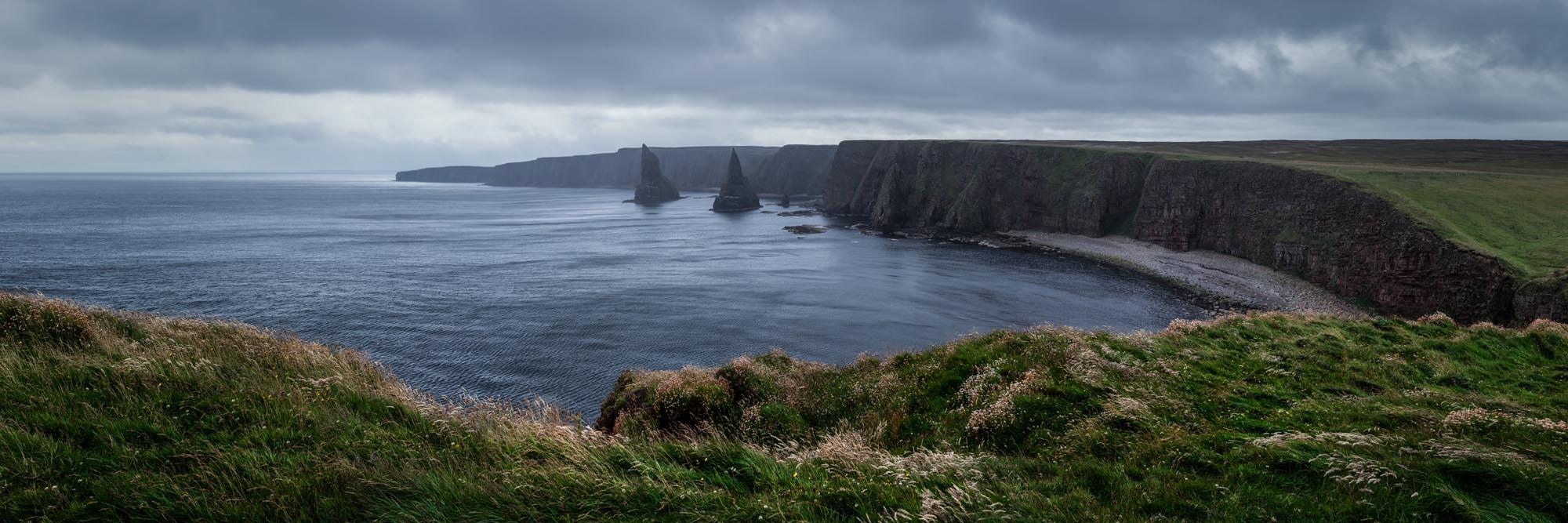 A panoramic print of dramatic stormy Scottish coast