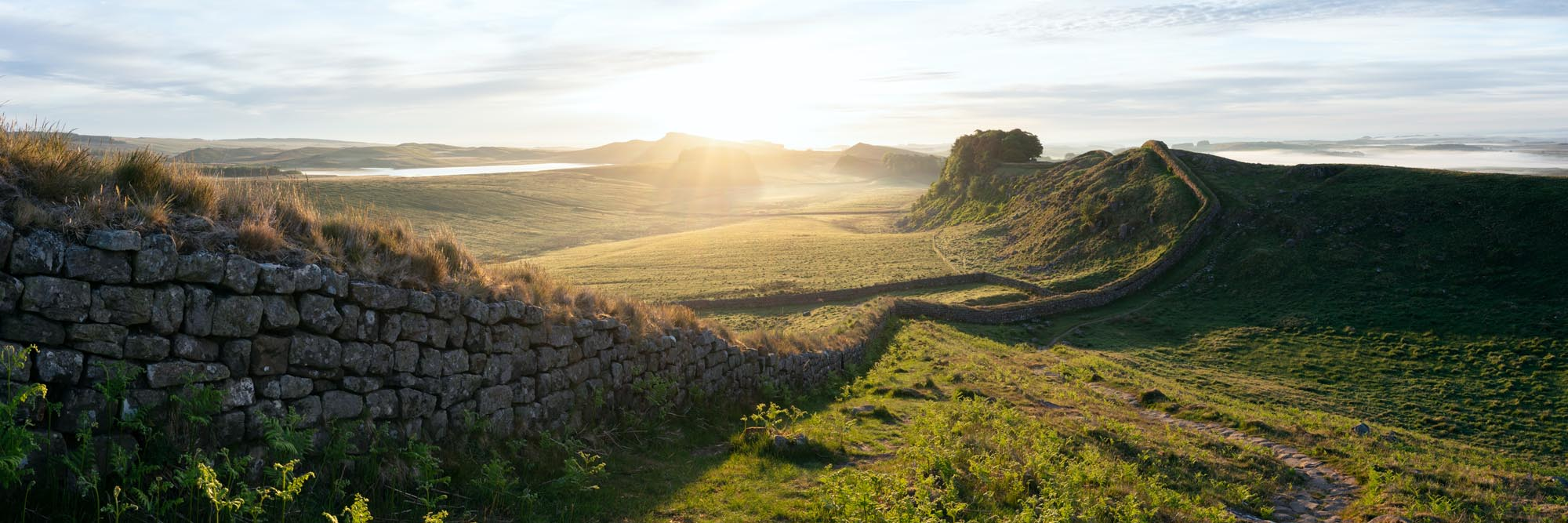 a panoramic print of an old roman wall in England