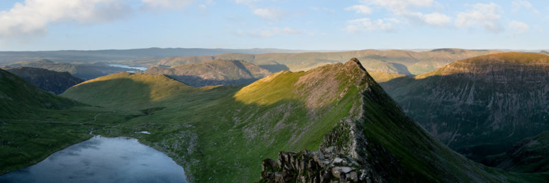 A panoramic print along the striding edge in the Lake District