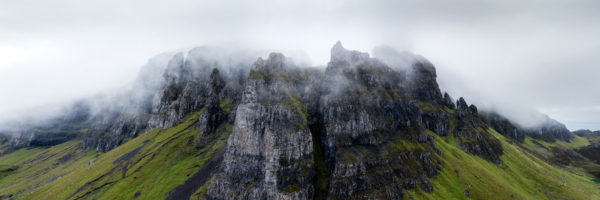 Panoramic print of mist over he Quiraing on the isle of Skye