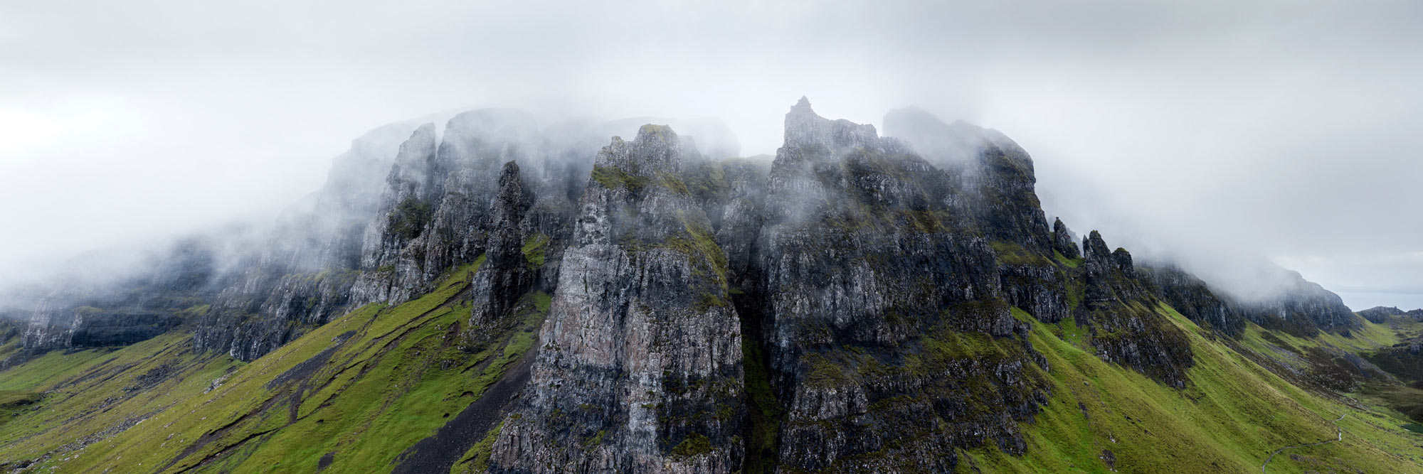 Panoramic print of mist over he Quiraing on the isle of Skye