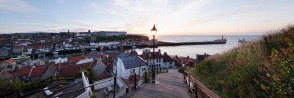 Panoramic art print of Whitby steps at sunset