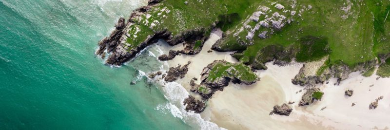 beautiful beach aerial in Scotland