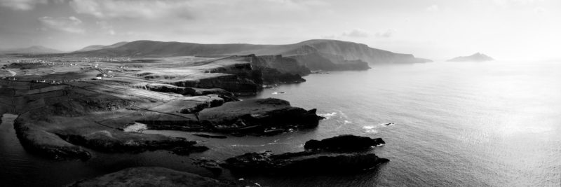 a black and white aerial print of the Kerry cliffs in Ireland
