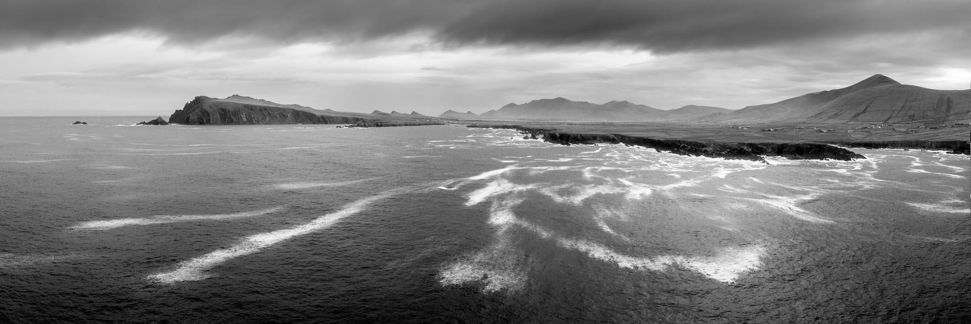 black and white panoramic print of the dingle peninsula