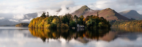 panoramic print of Derwent isle in fall in Keswick