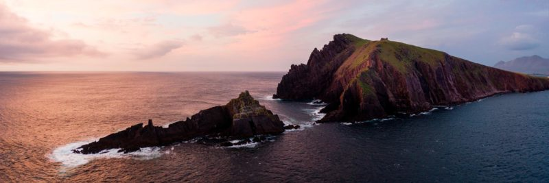 Aerial photograph of the cliffs at sunset on the dingle peninsula