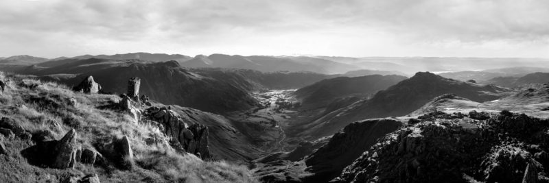 A black and white panoramic print from the crinkle crags