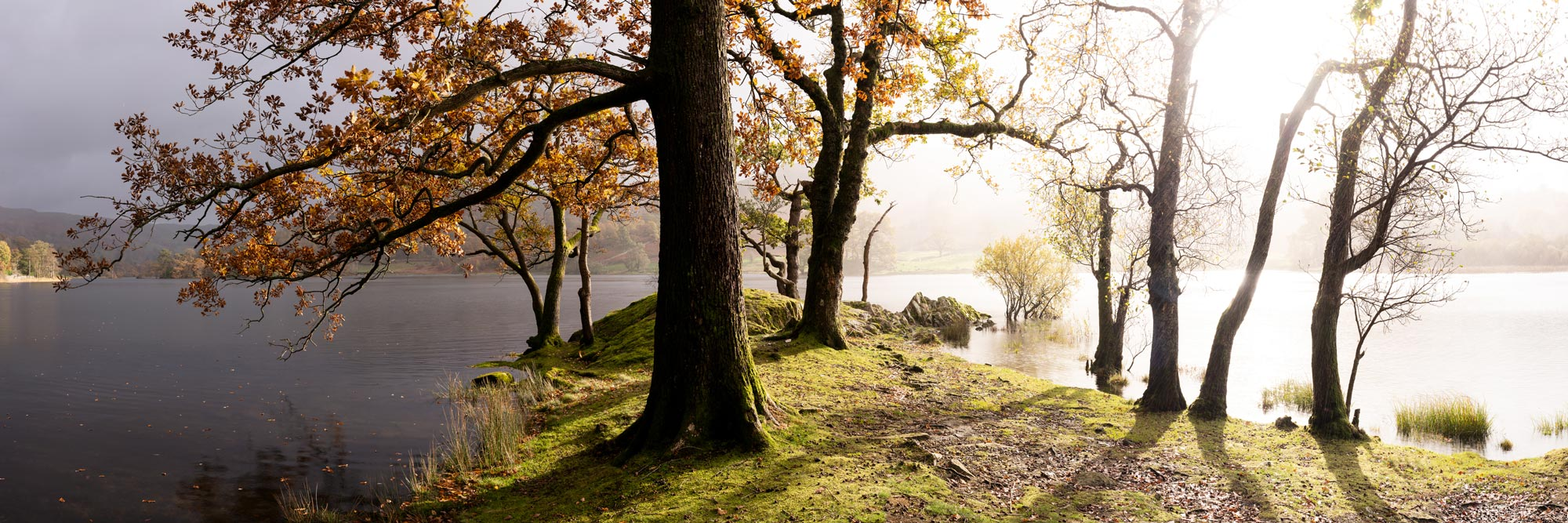 panoramic print of the lake district in fall