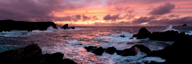 a panoramic print of sunset on the dingle peninsula on a stormy day