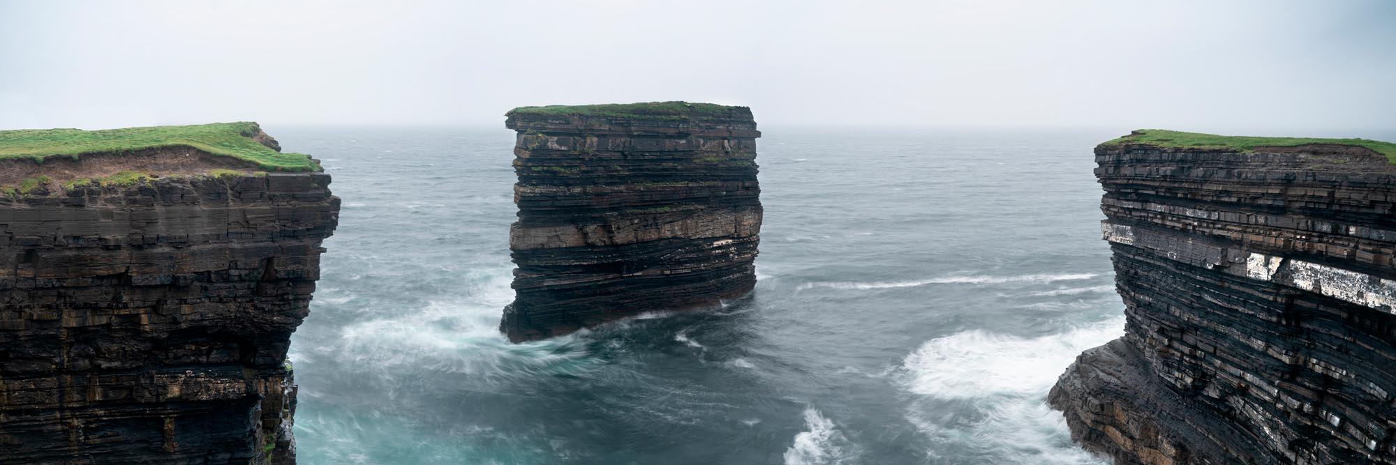 a panoramic print of the dun Briste sea Stac in ireland