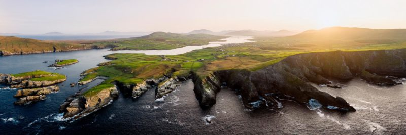 an aerial print of the rocky Kerry cliffs