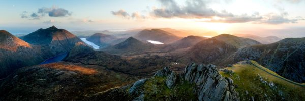 Panoramic aerial print of the Mourne Mountains and Slieve Bearnagh