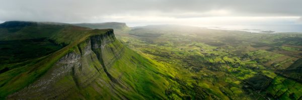 Aerial shot of the Benbulbin mountains