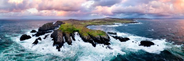Aerial panoramic print of Malin Head at sunset