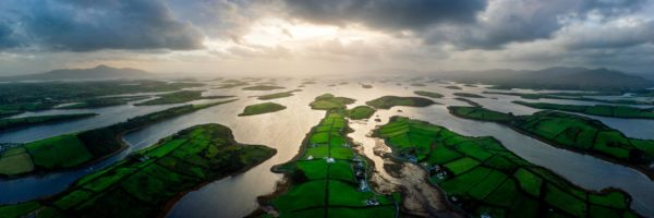 aerial panoramic print of clew bay in Ireland