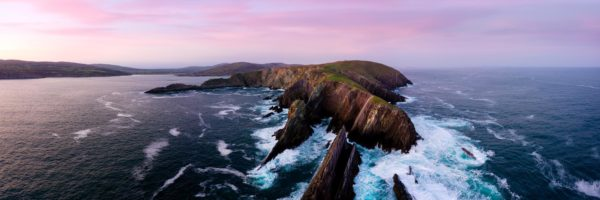 aerial panoramic print of brow head at sunset in Ireland