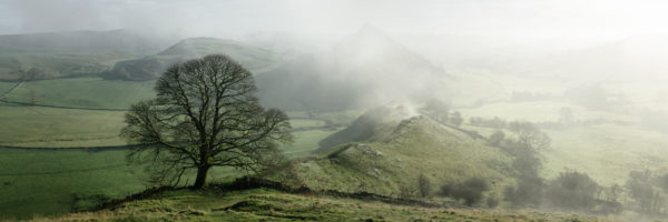 Panoramic print of the peak district as the fog clears