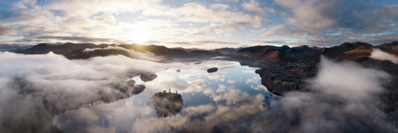 panoramic print of Derwentwater at sunrise