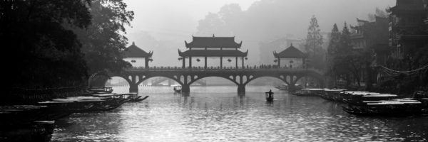 black and white panoramic print of Pheonix old town in china