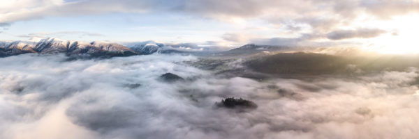 Arial panorama above the clouds in Keswick in the Lake District