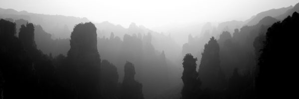 Panoramic black and white print of the avatar mountains in china