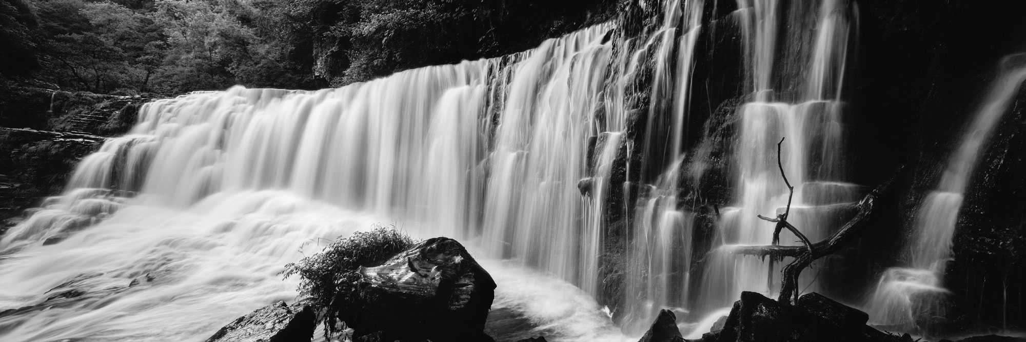 Black and white welsh waterfall