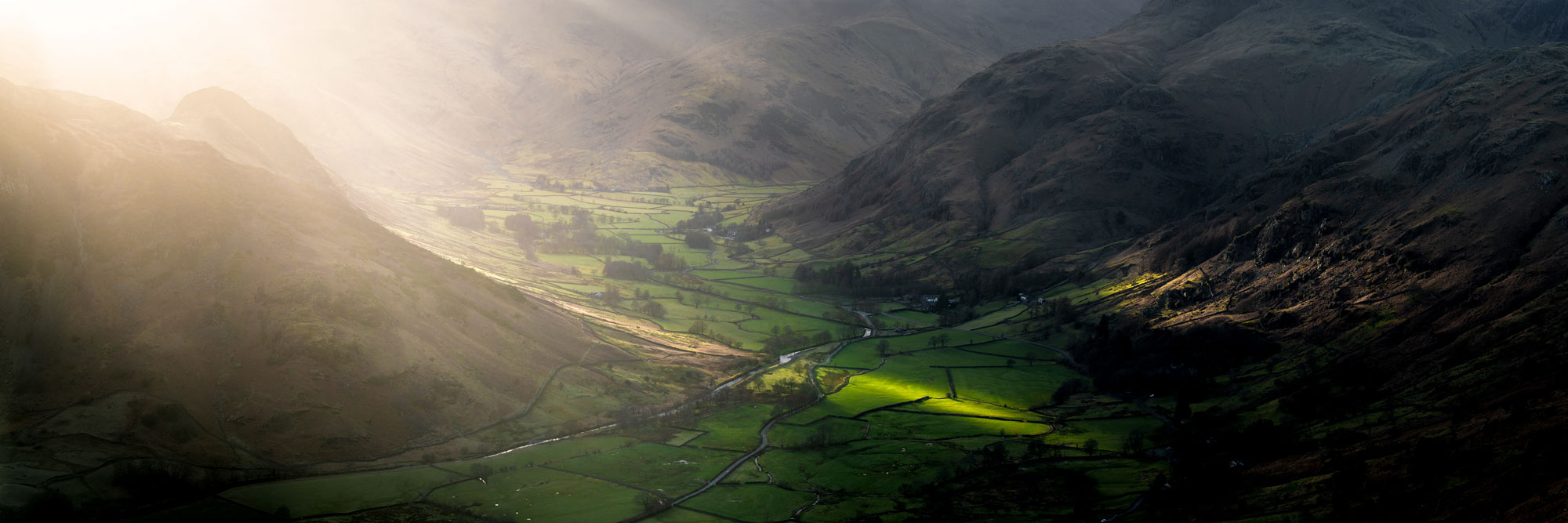 Panorama of a Lake District valley from a mountain top