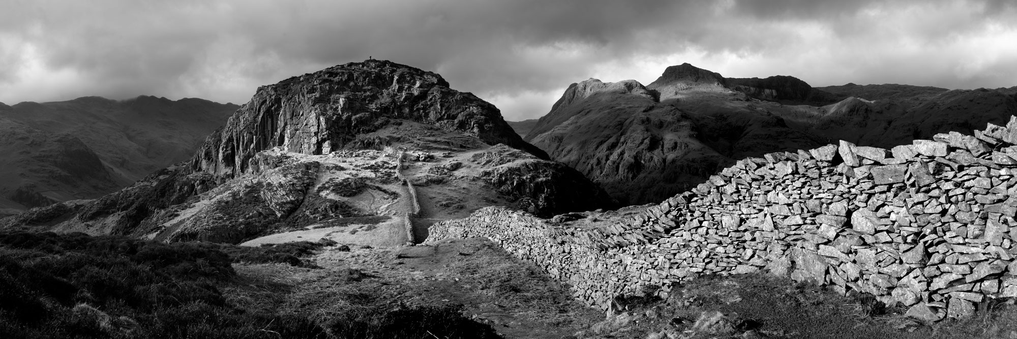panoramic b&w print of the Langdale pikes from Lingmoor fell in the Lake District