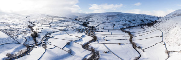 Thwaite and Swaledale feilde and barns covered in snow
