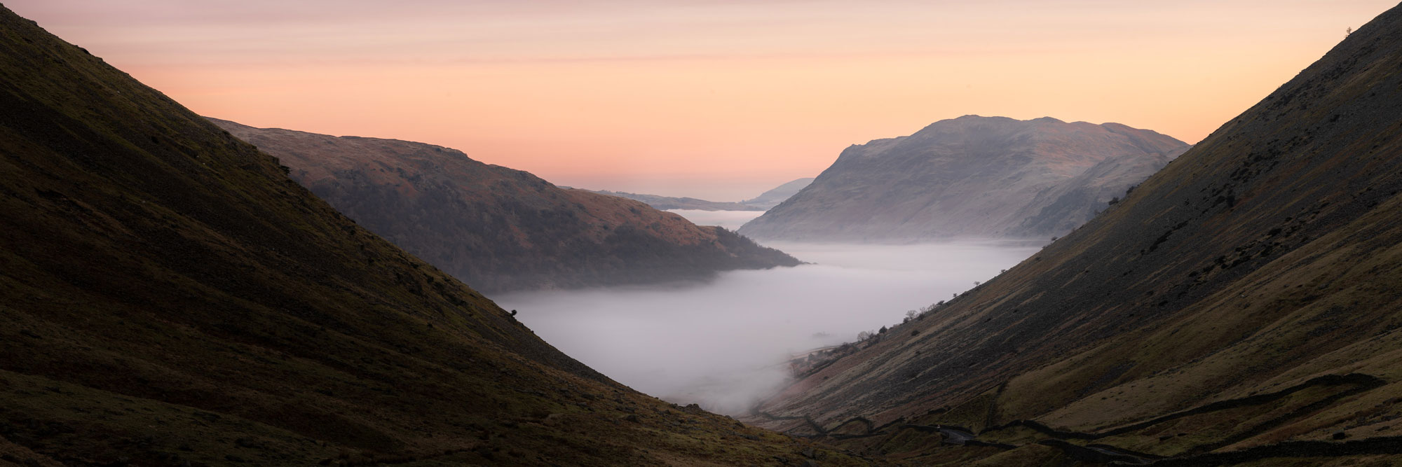 kirkstone pass view of Patterdale valley during a cloud inversion at sunrise