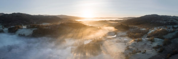aerial above Skelwith Bridge and the River Brathay at sunrise