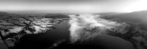 Aerial b&w of Ullswater in the Lake District