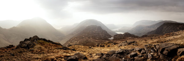 Panorama from Brandreth peak in the Lake District