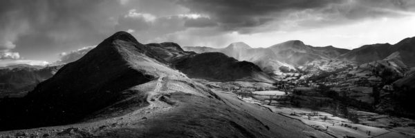 b&w print of the path up catcalls in Keswick lake district