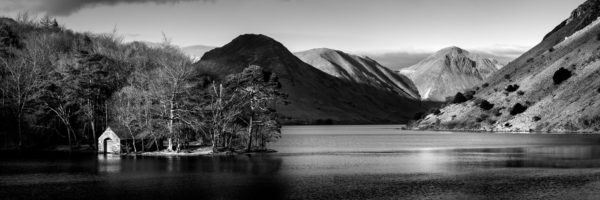 Wastwater lake boat houseb&w print
