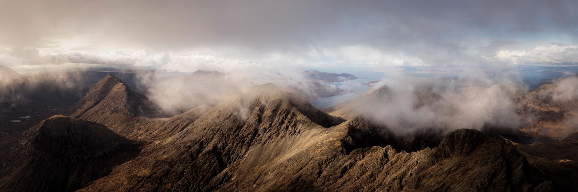 Panoramic print of the Scottish mountains Bla Bheinn on the isle of Skye