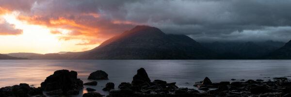 fiery sunset in scotland