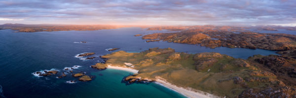 aerial of little and Great Bernera on the isle of lewis in Scotland