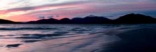 Beautiful sunset on Luskentyre beach in the outer Hebrides Scotland