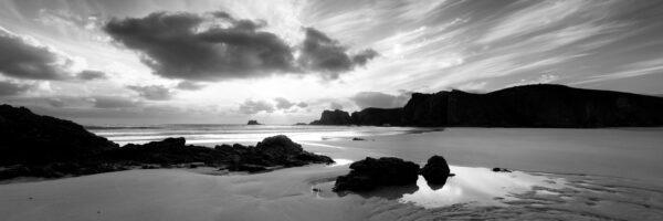 Mangurstadh beach panoramic b&w Scotland