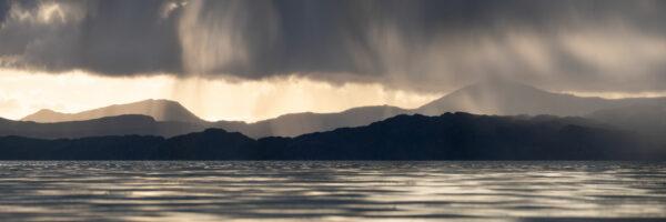 Isles of raasay and sky at sunset