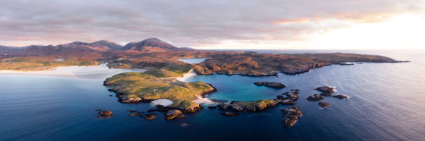 Aerial of Uig Sands on the isle of lewis in Scotland