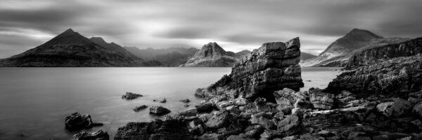 black and white print the rocky isle of Skye coast in Elgol