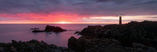 Scottish lighthouse at sunrise on the isle of lewis