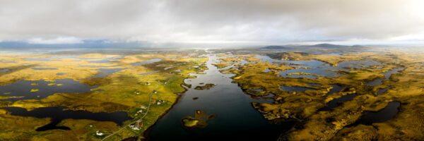 aerial above locheport in the Hebrides