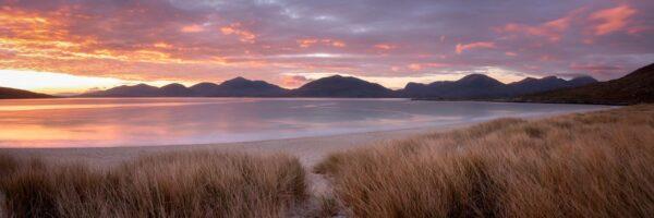 Luskentyre sand dunes during sunset on Harris island in the Hebrides