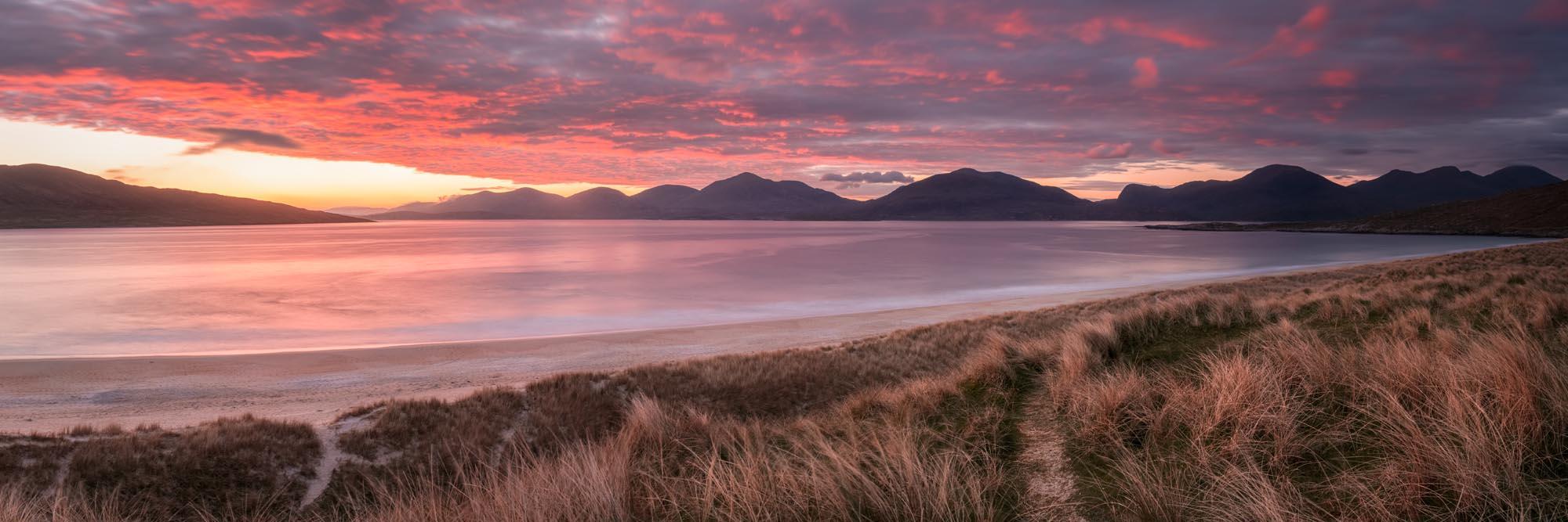 red sky sunset isle of Harris