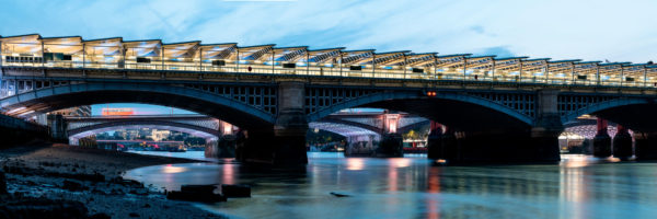 under the Blackfriars bridges on the shores of the thames