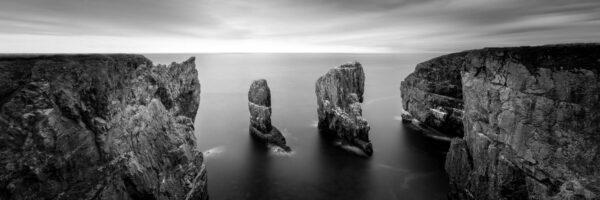 Pembrokeshire cliffs b&w print
